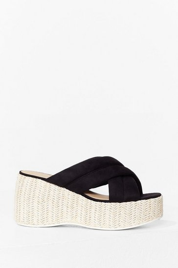 Black Strappy Times Woven Platform Sandals