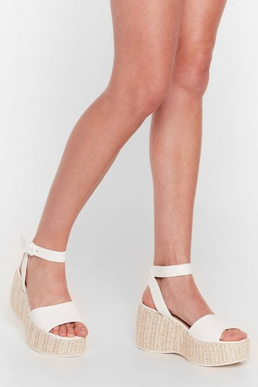 White Woven Right Platform Wedge Sandals