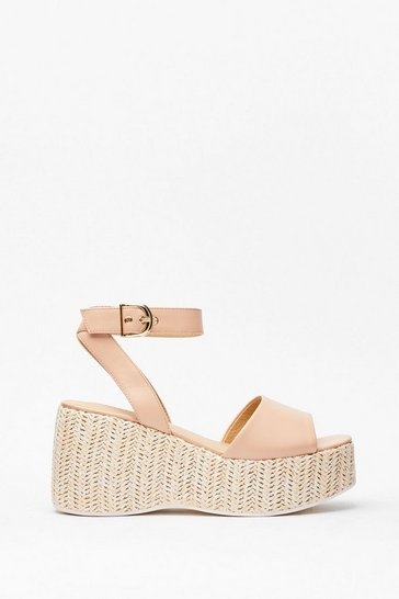 Nude Woven Right Platform Wedge Sandals