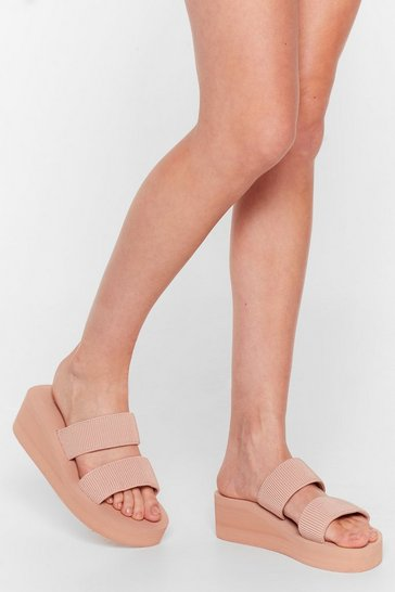 Pink No Place Like Foam Strappy Wedge Sandals