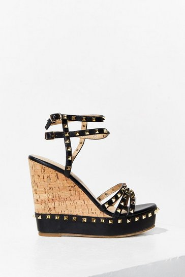 Black Livin' the Stud Life Faux Leather Wedges
