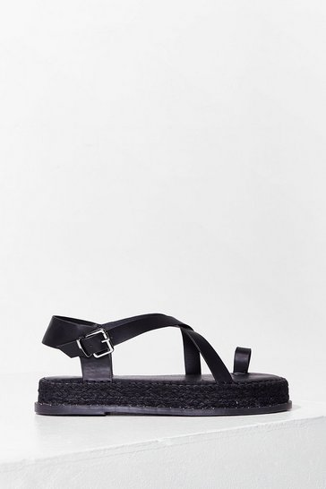 Black As Far as We Toe Faux Leather Platform Sandals