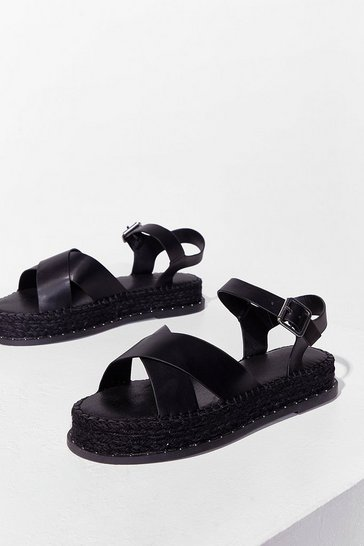 Black Cross My Mind Faux Leather Platform Sandals
