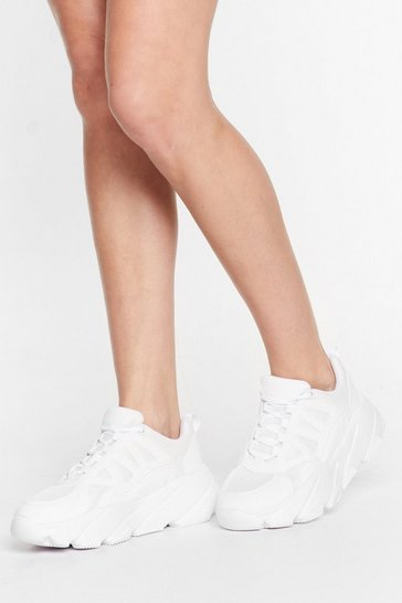 White The Very Fabric Knit Chunky Sneakers