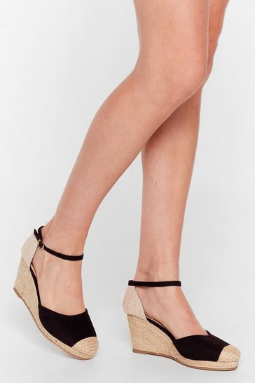 Black Lovely Day Espadrille Woven Wedges