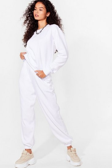 White Chilled Out Sweatshirt and Joggers Lounge Set