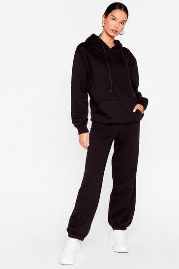 Black Not My Hoodies Pullover Joggers Lounge Set