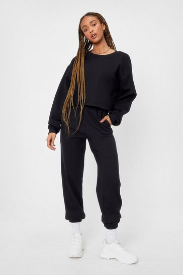 Black Cropped Crew Neck Sweatshirt and Joggers Set