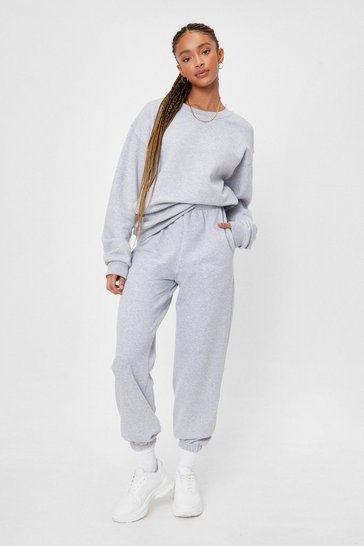 Grey marl Missed You Cropped Sweatshirt and Jogger Set