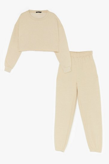 Sand Cropped Crew Neck Sweatshirt and Trousers Set