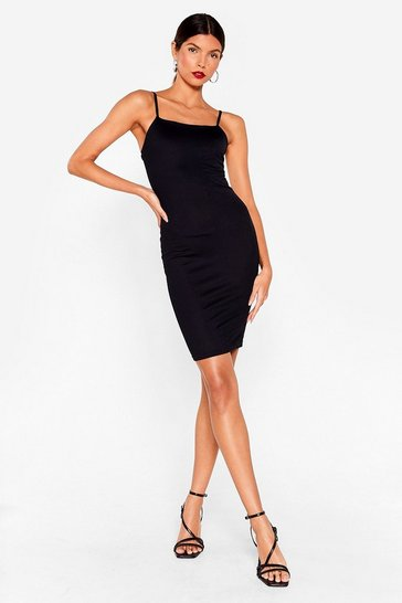 Robe midi moulante à col carré, Black