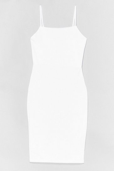 Robe midi moulante à col carré, White
