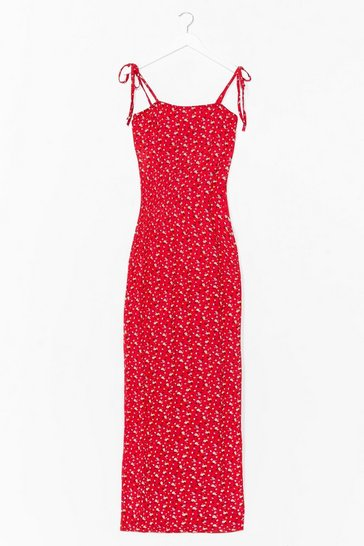 Red Tie and Hold It Together Floral Maxi Dress