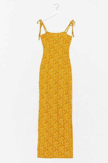 Yellow Tie and Hold It Together Floral Maxi Dress