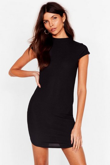 Black Up to Your Neck Ribbed Bodycon Dress