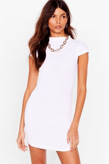 White Up to Your Neck Ribbed Bodycon Dress