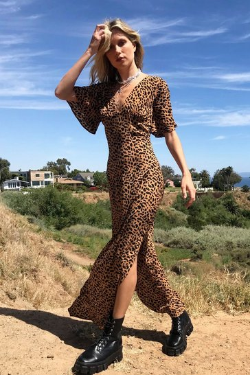 Brown Leopard Print Slit Maxi Dress
