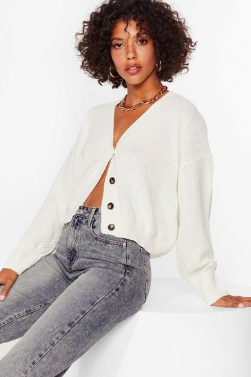 Cream Ribbed Knit V Neck Cropped Cardigan