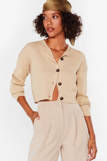 Camel Knit's Our Time Cropped Button-Down Cardigan