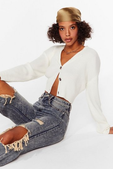 Cream Knit's Our Time Cropped Button-Down Cardigan