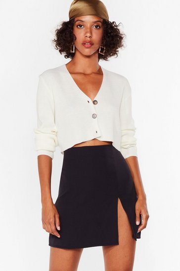 Knit's About Time Cropped Button-Down Cardigan, Cream