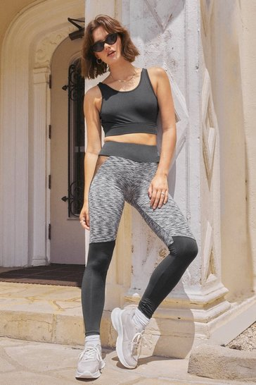 Grey Pump Up the Jam Mesh Contrast Workout Leggings