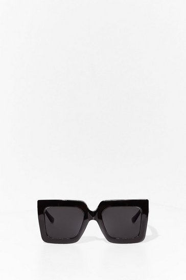 Black Statement Oversized Square Sunglasses