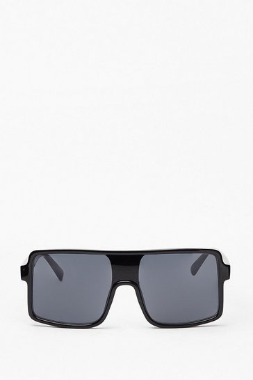 Black Catch You Aviator Oversized Sunglasses