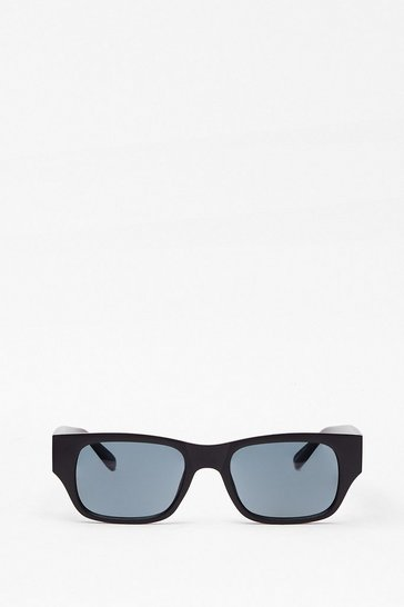 Black Get the Lowdown Slim Rectangle Sunglasses
