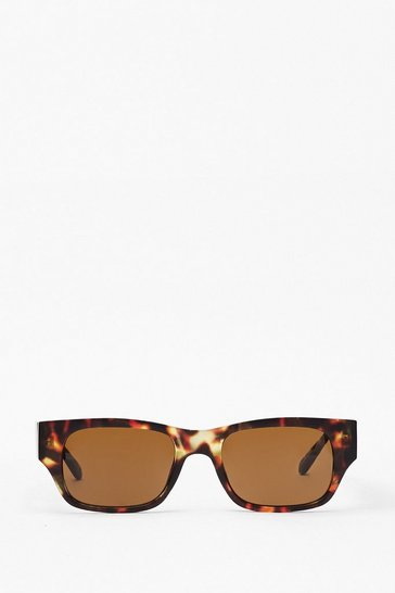 Brown Get the Lowdown Slim Rectangle Sunglasses