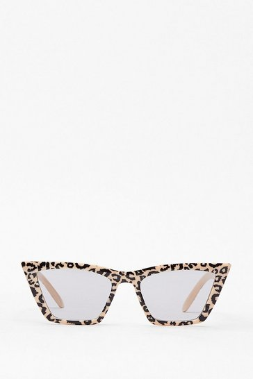 Feline Myself Leopard Cat-Eye Sunglasses, Natural