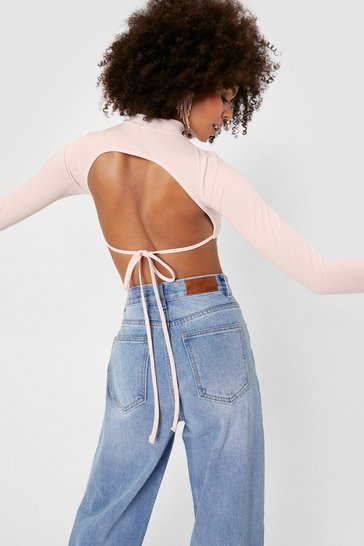 Pink Ribbed Cut Out Tie Crop Top