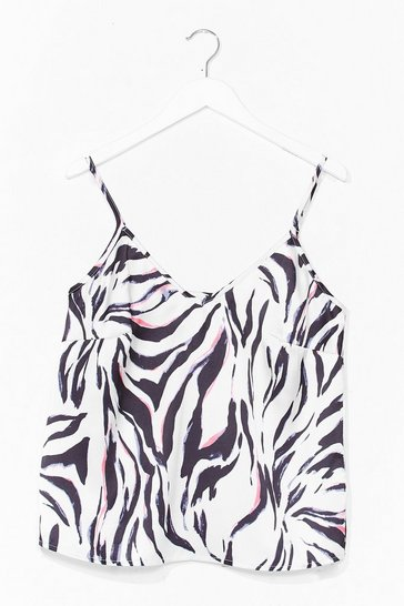 White Forget What You Herd Zebra Cami Top