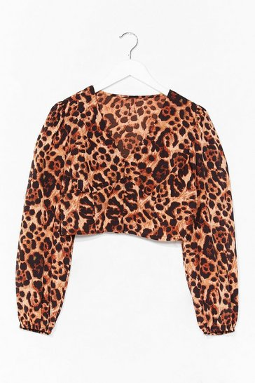 Tan We've Leopard Enough V-Neck Cropped Blouse