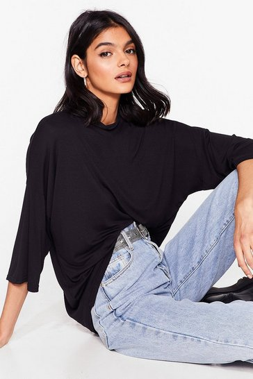Black Cover the Basics Oversized High Neck Tee