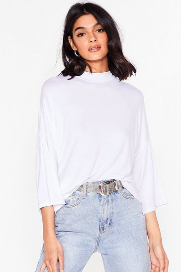 White Basic Oversized High Neck T-Shirt