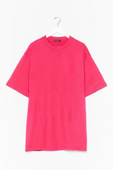 Hot pink Oversized Basic T-Shirt