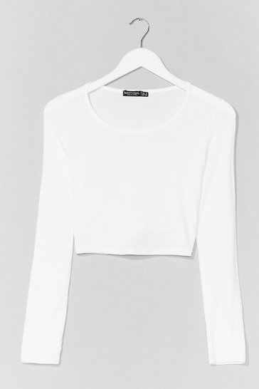 White Join the Crew Neck Crop Top