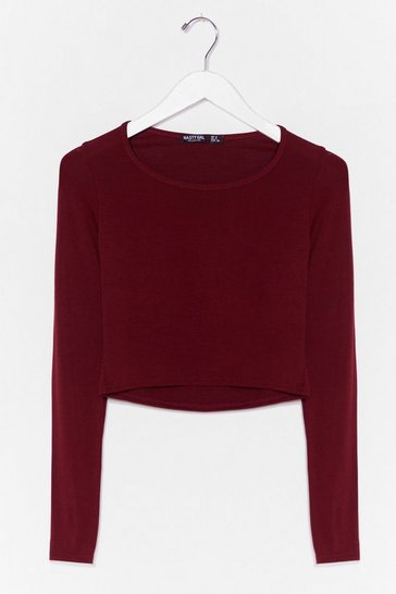 Wine Join the Crew Neck Crop Top