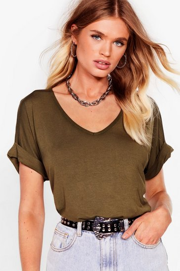 Khaki Leave It to V-Neck Relaxed Tee