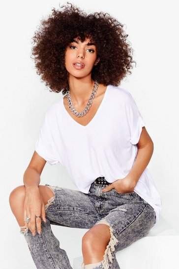White Leave It to V-Neck Relaxed Tee