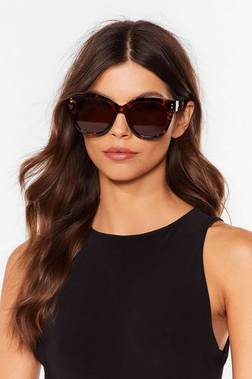 Brown Oversized It Tortoiseshell Cat-Eye Sunglasses