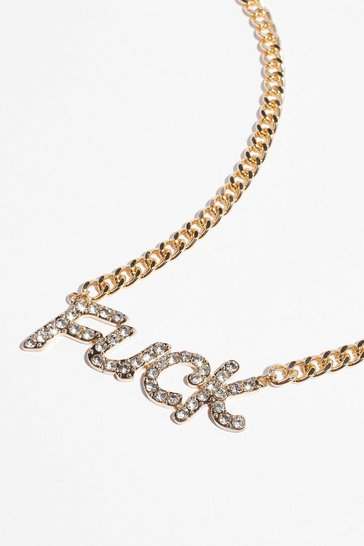 Gold Well Fuck Diamante Necklace