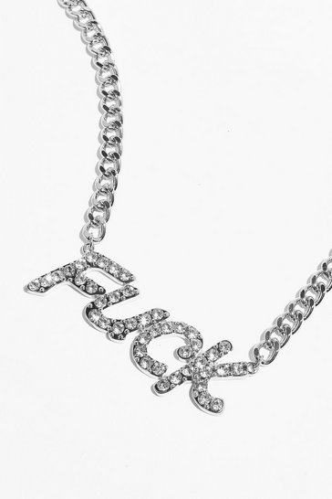 Silver Well Fuck Diamante Necklace
