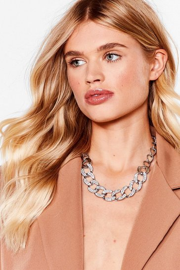 Silver Do the Right Bling Contrast Chain Necklace