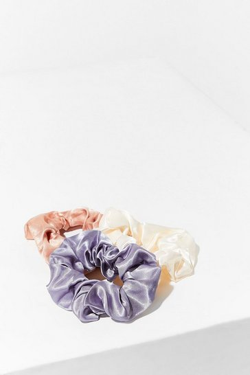 Pink 3-Pc Satin Scrunchies