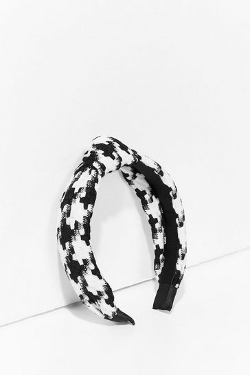 Black Hair and Square Knot Houndstooth Headband