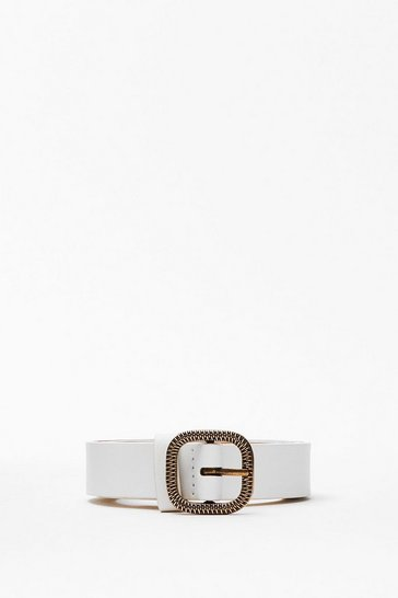 White Drop Me a Textured Slim Band Belt
