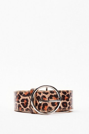 Natural Circle Buckle Leopard Print Belt