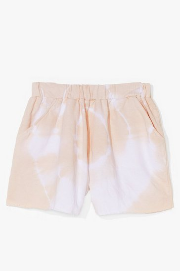 Cream Peace and Love Tie Dye High-Waisted Shorts